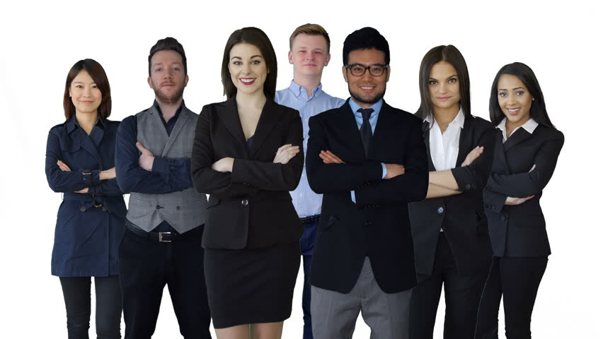 diverse group of young business people standing together
