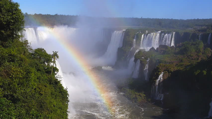 Rainbow at Iguazu Falls, on the border of Argentina and Brazil. | Shutterstock HD Video #15648865