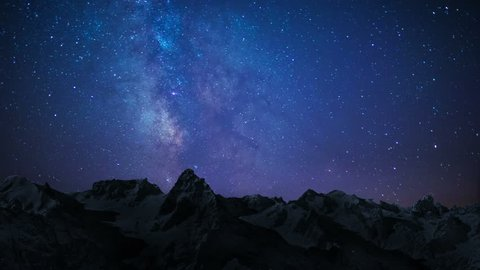 night sky stars milky way on mountains background