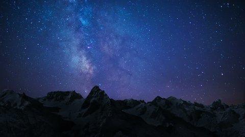 night sky stars milky way on mountains background