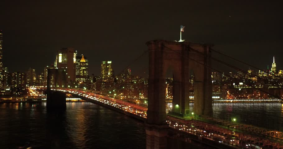 New york, south Manhattan, night, winter, Brooklyn bridge