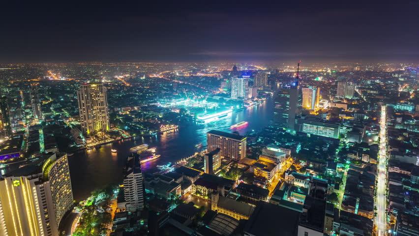 night illumination roof top bangkok bay traffic panorama 4k time lapse thailand
