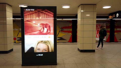 GERMANY - CIRCA FEBRUARY 2016 - Berlinale 2016 advertisement poster in subway station, Berlin, medium shot
