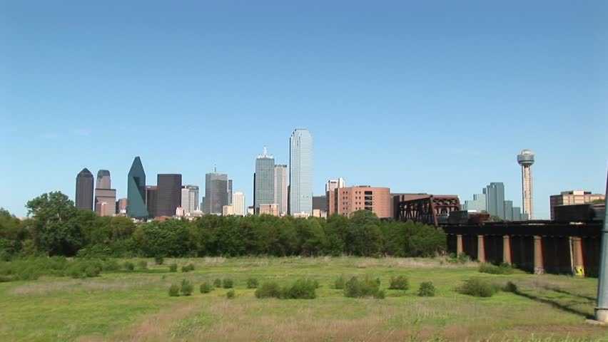 Wide shot of the Dallas city skyline