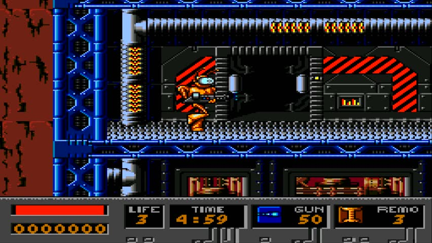 URYUPINSK. RUSSIA - APRIL 7, 2016: Gameplay game console Sega Genesis B.O.B -  robot on a spaceship shooting war retro console games on April 7 2016 in Urupinsk, Russia