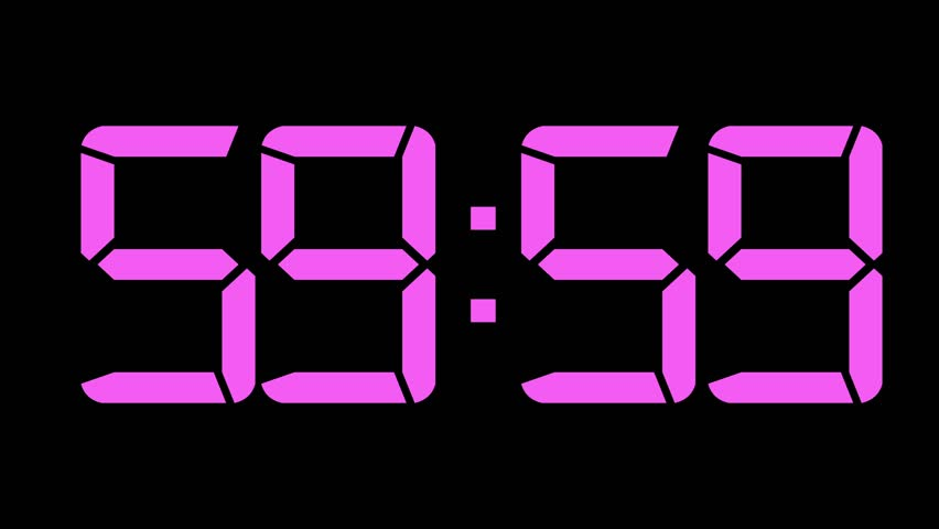 One minute count down to 0 60fps pink digital clock   Shutterstock HD Video #15748030