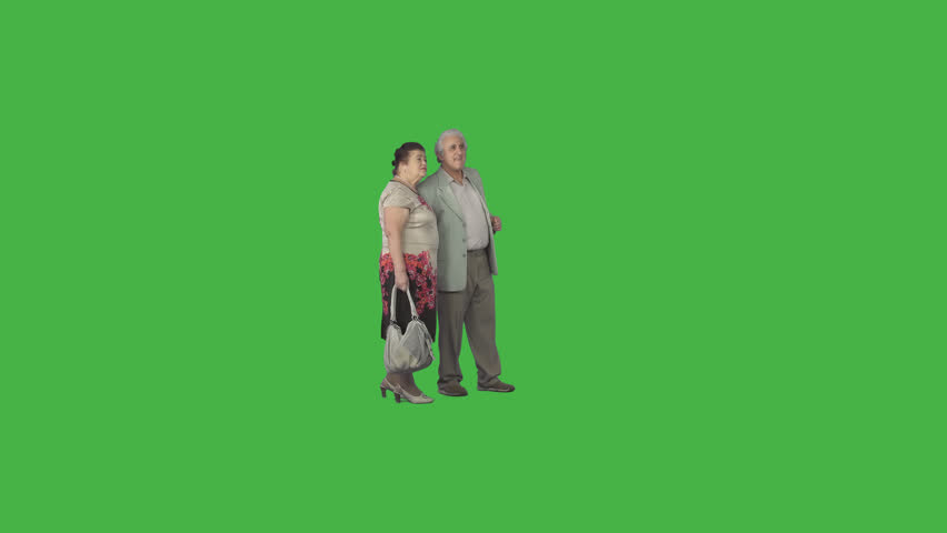 Elderly couple in casual clothing stroll arm in arm, looking around, discussing at summer day. Cut out on green screen. File format - .mov, codec PNG+Alpha. Shutter angle -180 (native motion blur)