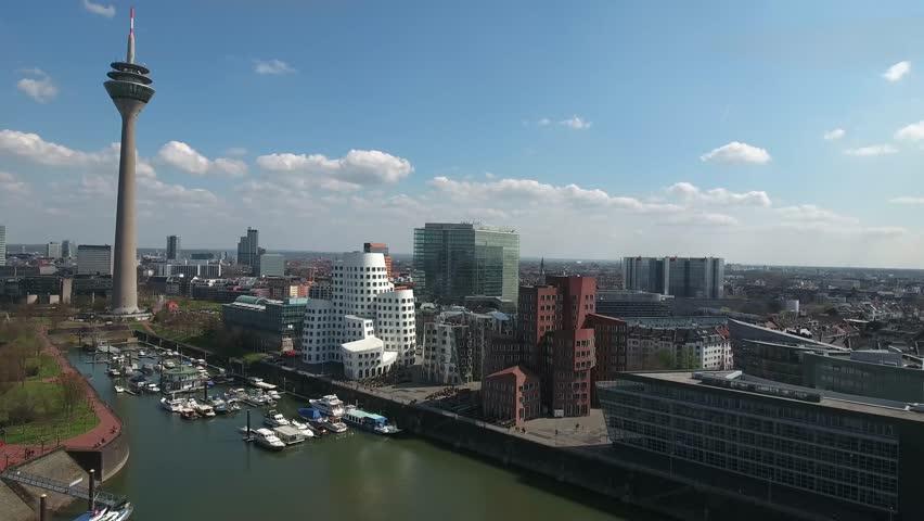 Aerial Flight Luftaufnahmen   Skyline Including Famous Modern Buildings   Moderne  Huser Im Medienhafen Dsseldorf