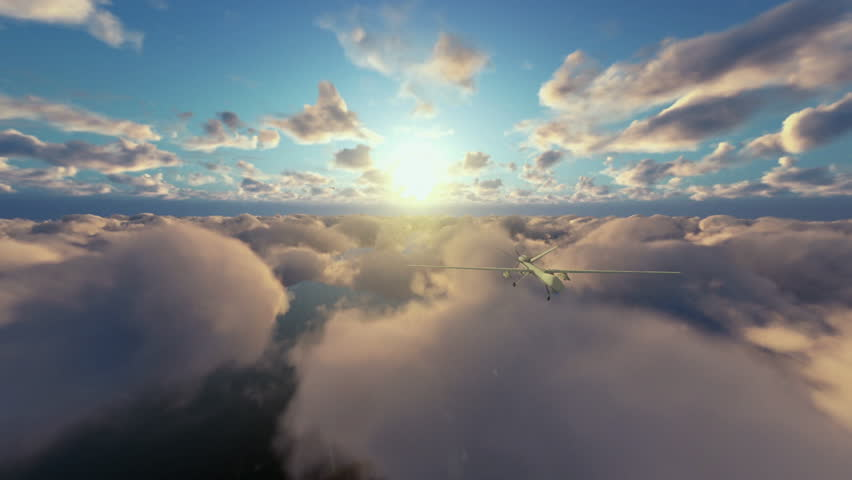 Military Drone launching missiles, above morning timelapse clouds | Shutterstock HD Video #15795121