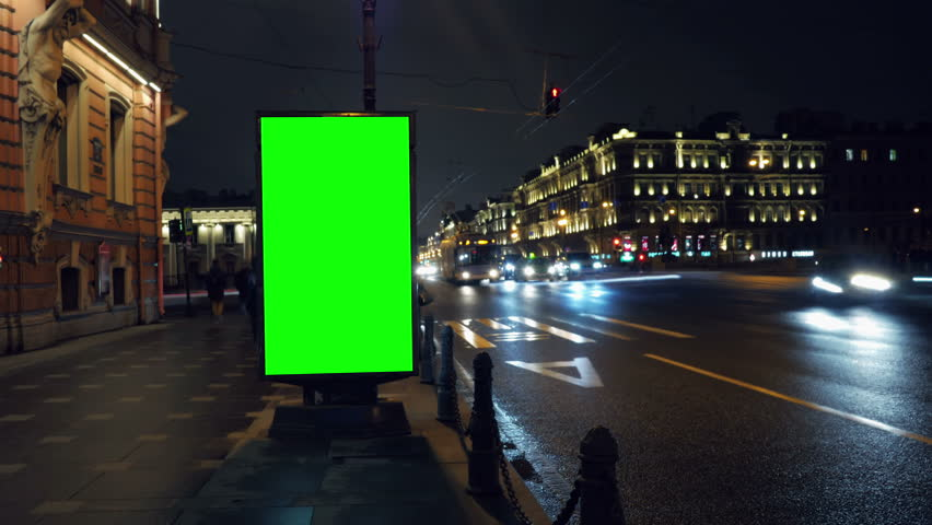 A Billboard with a Green Screen on a Busy Night Street.Time Lapse. | Shutterstock HD Video #15819580