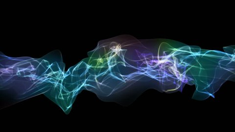 Smoke, gas, incense or plasma. Looping abstract animation. Rainbow colors on black. Soft evolving curves, slow motion flow from left to right. Background or screen saver.