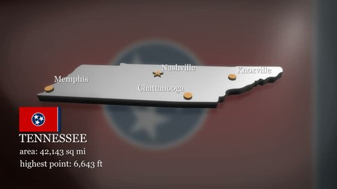 Seamless looping 3D animation of the map of Tennessee including 2 versions and alpha matte