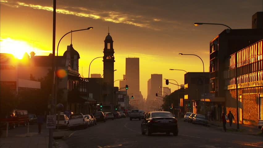 Locked off shot of Commissioner Street in Johannesburg during sunset