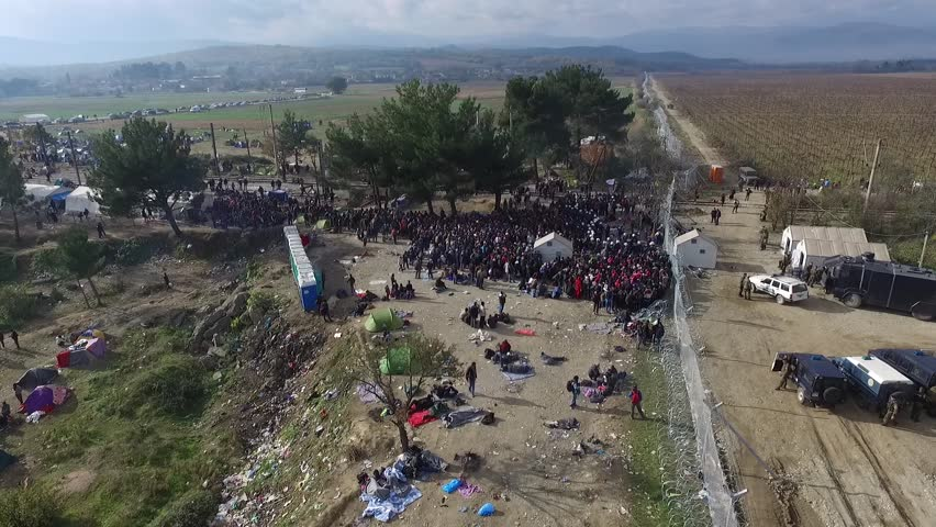 December 7, 2015. Drone captures refugees waiting to enter Macedonia in front of the closed gate at the Greek-Macedonian border near Idomeni