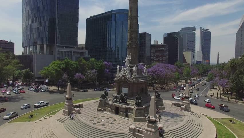 MEXICO - CIRCA 2016. Aerial shot of the Angel de la Independencia in Mexico City