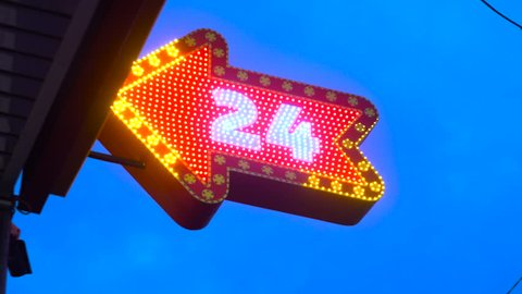 24 Hours Neon Sign Arrow, a Sign of the Light Bulbs, Open Around the Clock, a Restaurant Sign, Cafe, Right, Left, Lights and Flashes Red, Attracts Attention, 4k