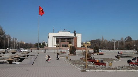BISHKEK, KYRGYZSTAN - March 1, 2016: Ala-Too Square. Bishkek formerly Frunze, is capital and largest city of the Kyrgyz Republic.