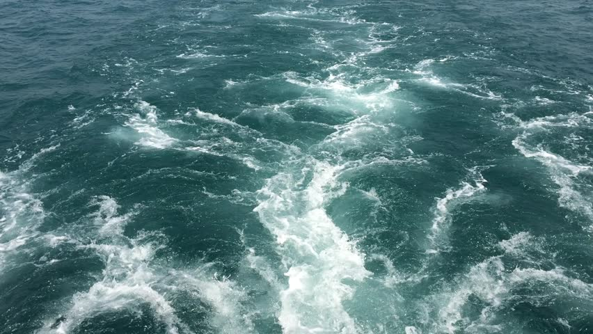 Waves at the stern of the ship sailing on the sea | Shutterstock HD Video #15971680