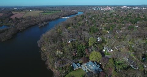 Aerial of Olympic Princeton Rowing Team. Lake Carnegie is a reservoir that is formed from a dam on the Millstone River , Mercer County, New Jersey. (2016)