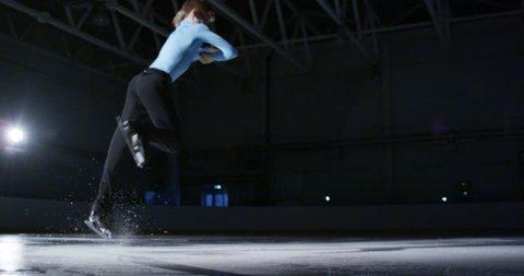 children figure skating on ice slow motion
