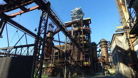 Blast furnace at old abandoned metallurgical steel plant in Ostrava, Czech Republic. National cultural heritage Dolni oblast Vitkovice. Using of DJI Osmo for better stabilization.