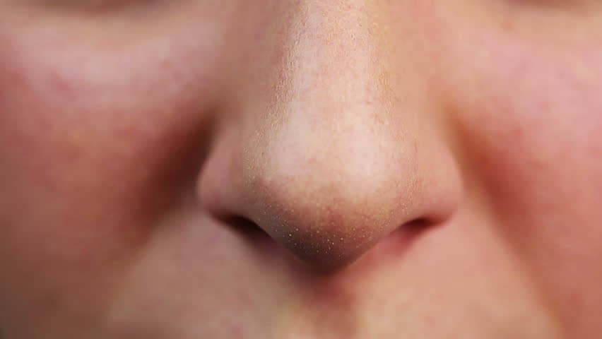 Close-up video of person who wants to sneeze. Allergic disease symptom, having cold, healthcare. Body sensitivity to irritating particles cause breath problem. High temperature, virus epidemic
