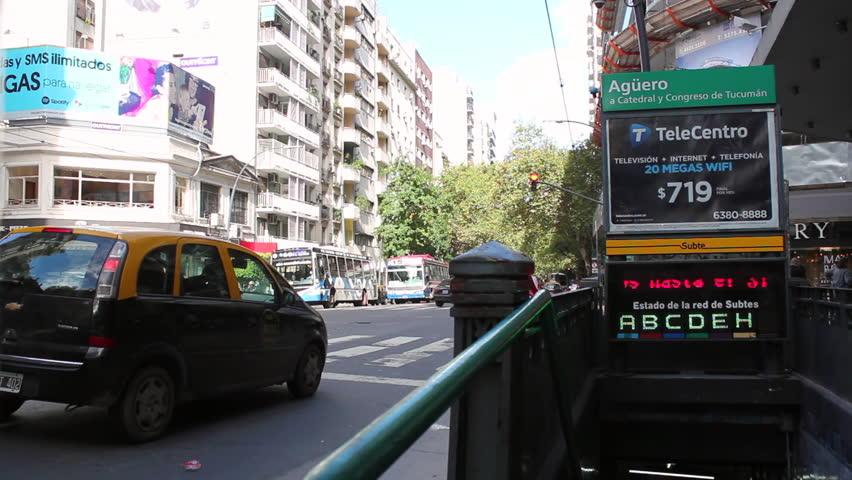 BUENOS AIRES, ARGENTINA. 20th APRIL. Santa Fe Avenue, Buenos Aires, Argentina. Traffic. 2016.  | Shutterstock HD Video #16075300