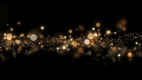 Space gold background with particles. Space gold dust with stars on black background. Sunlight of beams and gloss of particles galaxies.