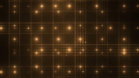 Vj Abstract Gold Bright Mosaic. Bright beautiful flood lights disco gold background mosaic. Seamless loop.