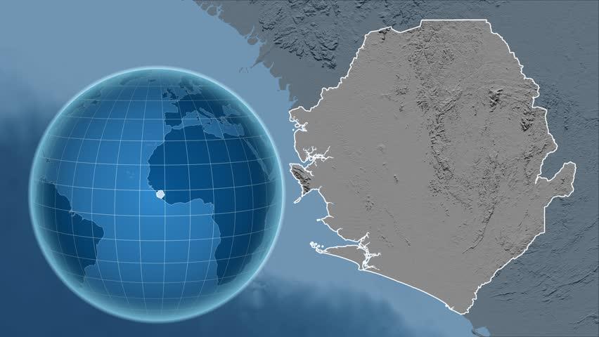 Liberia Shape Animated On The Elevation Map Of The Globe Stock - Globe elevation