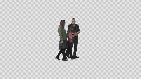 Father, mother & daughter walks, communicates. Green screen video. File format - .mov, codec PNG+Alpha. Shutter angle -180 (native motion blur)