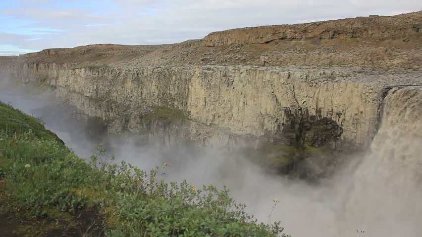 Dettifoss on Iceland: Europe's largest waterfall - Canyon view