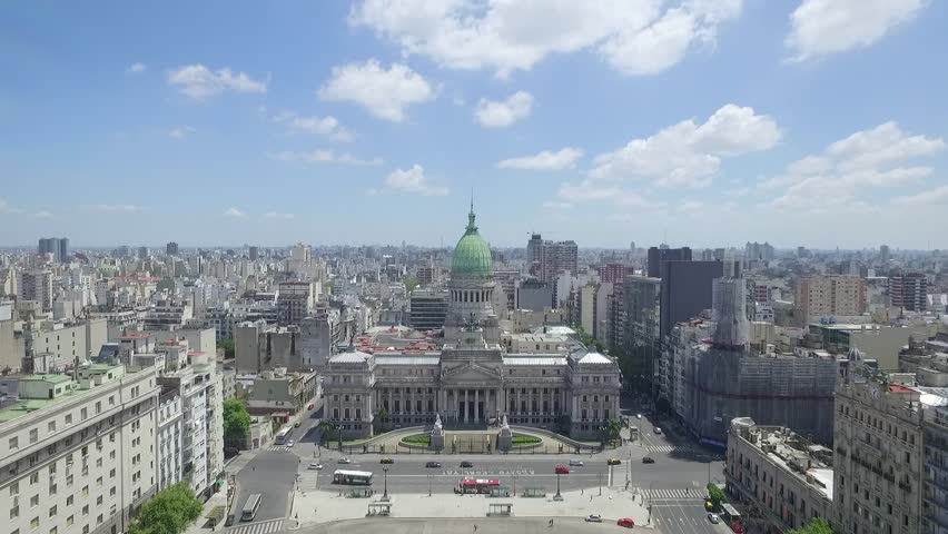 Aerial Drone Scene of Congress of the Argentine Nation. Travelling out.Aerial View of Congress, Congress Square, City Landscape, Historic Building, and Towers of the City.Buenos aires-Argentina | Shutterstock HD Video #16127980