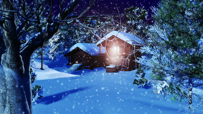Christmas Snowy Scene 3D animation