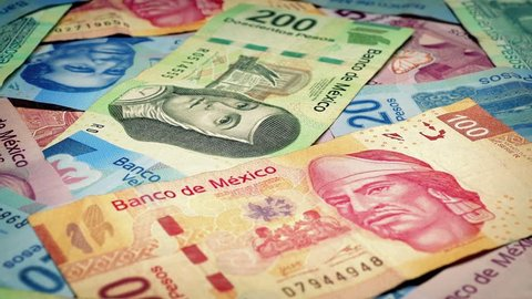 Mexican Peso Banknotes Rotating Closeup