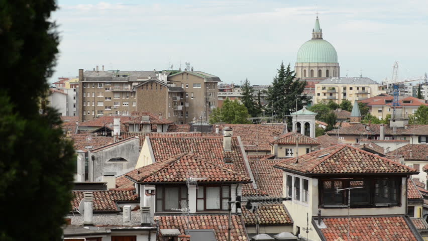 Udine Landscape. Panoramic view of italian town. In this panning wide shot you see a beautiful view of Mediterranean town Udine.