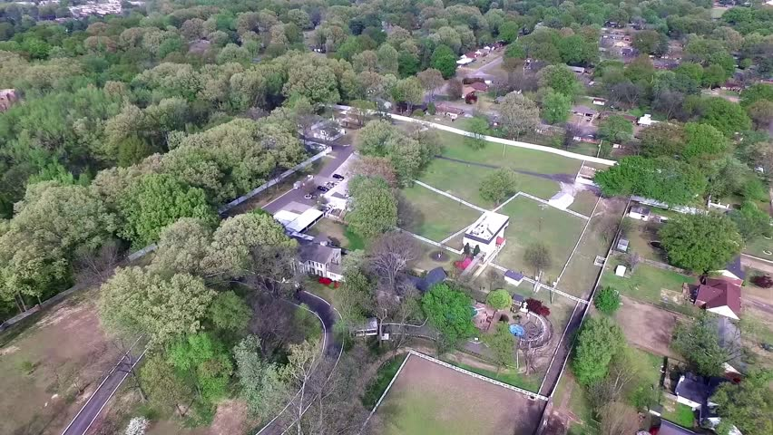 MEMPHIS, TENNESSEE - APRIL 07, 2016: Flying Above the Graceland, Elvis Presley Museum