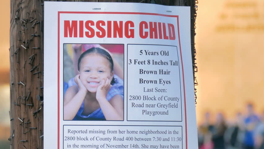 Missing Child poster (all information is fictitious)