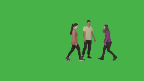 Two girls and guy walks through the frame, laughs, smiles. Footage with alpha channel. File format - .mov, codec PNG+Alpha. Shutter angle -180 (native motion blur). 50 mm lens