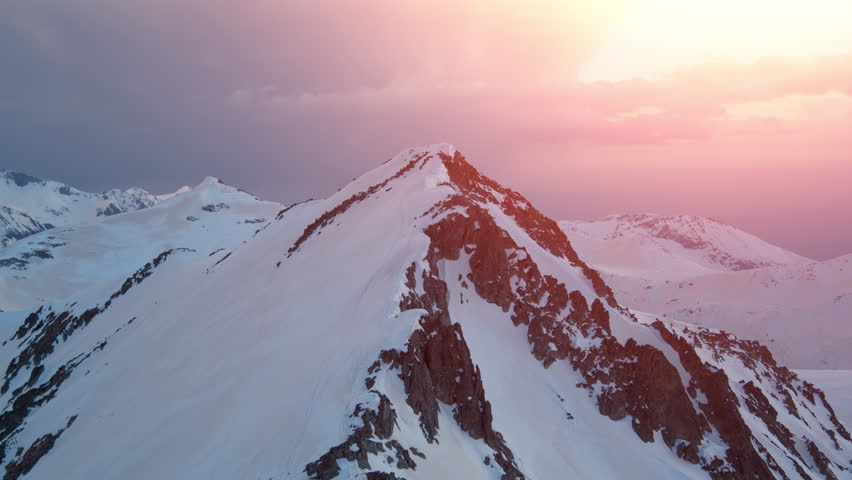 Sunset Over Mountain Range Aerial Helicopter Drone Flight  Beautiful Winter Landscape Inspiration Beautiful Panorama  | Shutterstock HD Video #16267360