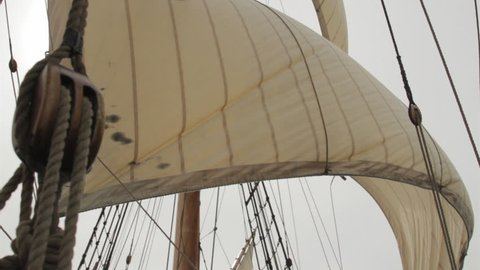 MID ATLANTIC - OCTOBER 2014 - Reenactment, recreation of early, pre-20th century sailing ship - Europe to the New World.  Pirates, Exploration, boat, tall-ship, rigging, masts and giant sails at sea.