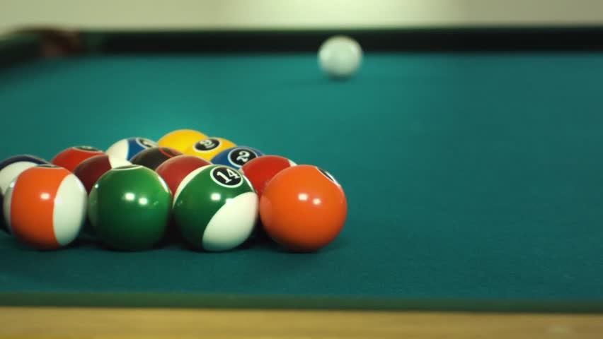 Slider Shot Of Pool Balls Racked With Cue Ball Ready