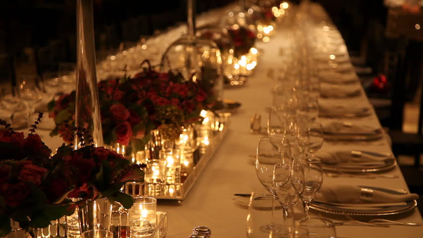 Elegant Candlelight Dinner Table Setting At Reception   HD Stock Video Clip