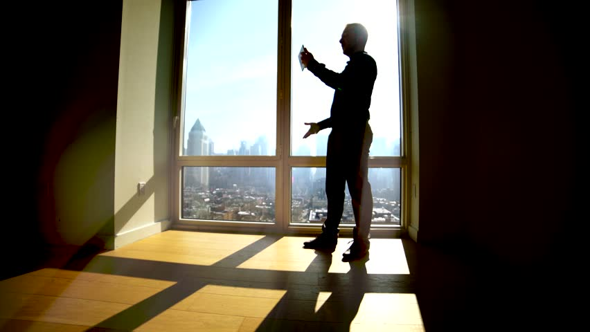 Silhouette Shadow Of One Person Working In Modern Office In The Morning Standing On Large Window Front Startup Business Idea Concept