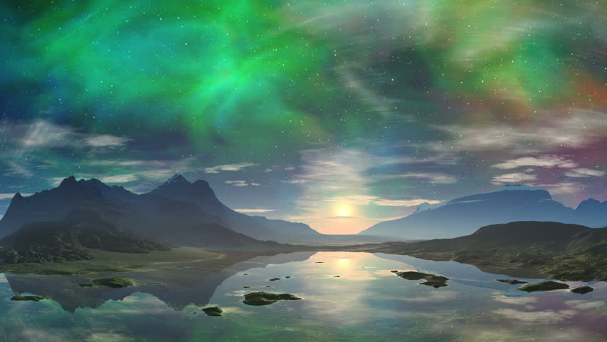 Colorful sunrise. Lake with crystal clear surface reflects the clouds, sun and hills. In the sky a bright rising sun, the stars and nebulae. Slowly floating clouds. Bright fabulous landscape. | Shutterstock HD Video #16379800