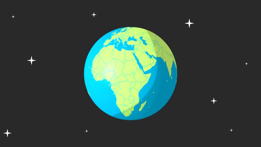 Simple Cartoon Design Of Planet Earth Spinning Animation