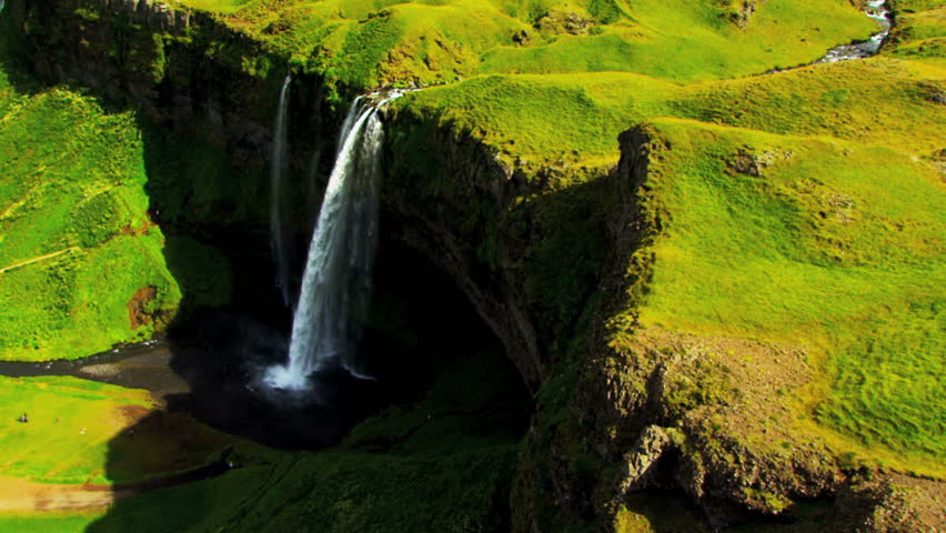 Aerial View of Rugged Ridges & Meltwater Waterfalls, Iceland | Shutterstock HD Video #1644688