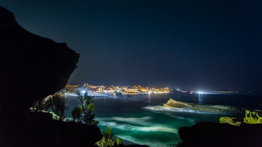timelapse biarritz france pays basque panoramic night