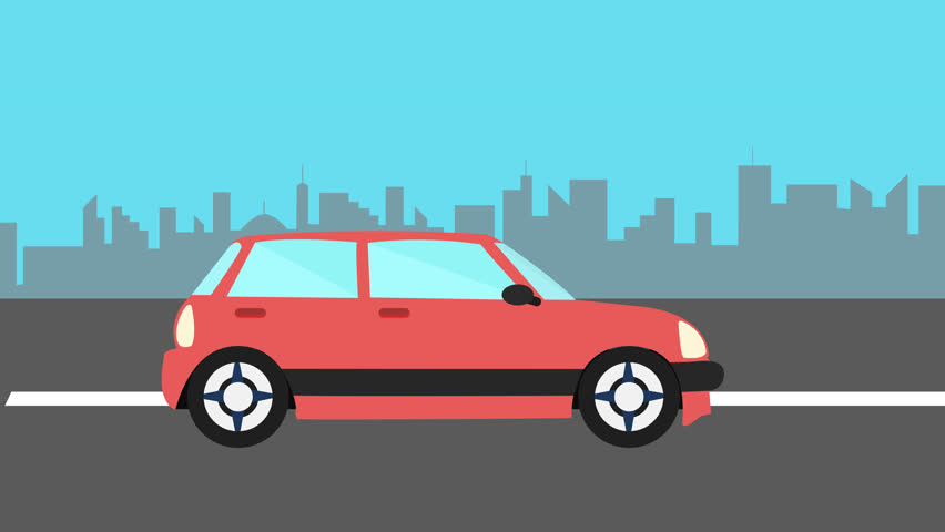 Vector Cartoon City And Highway With Cars Stock Footage Video