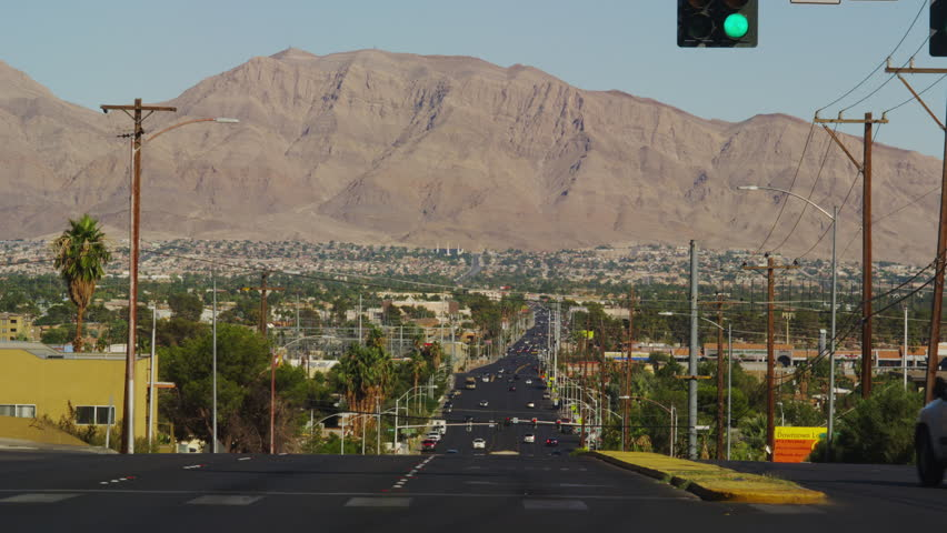 Street View of E. Bonanza Road and the Frenchman Mountain in the Background   Shutterstock HD Video #16467463